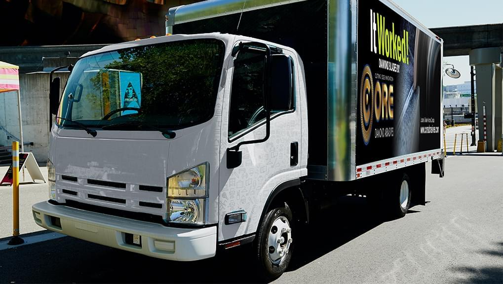 """One Mobile Billboard for Core Diamond Abrasive with the copy """"It Worked!"""""""