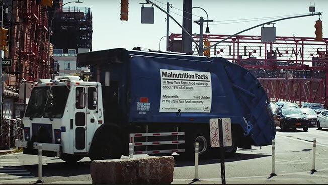 Dumpster advertising for Dole