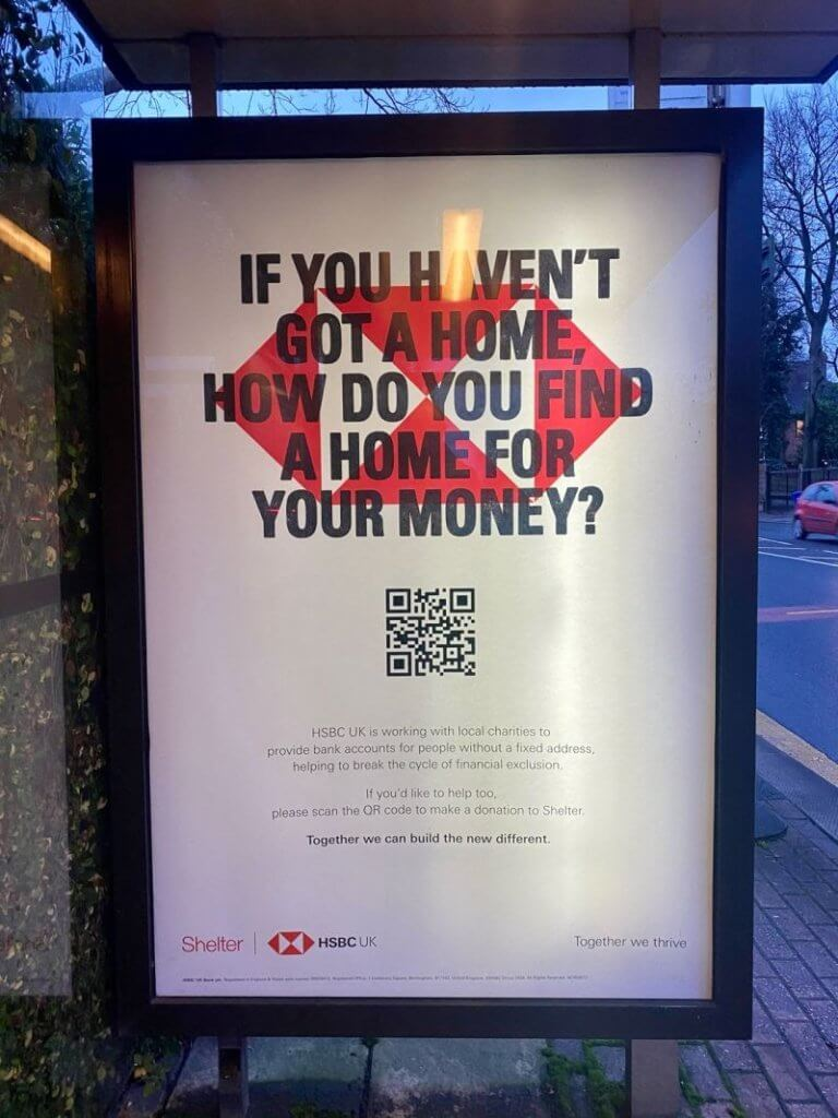 A bus-stop ad for HSBC with a scannable code on it.