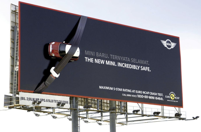 a large billboard for Mini