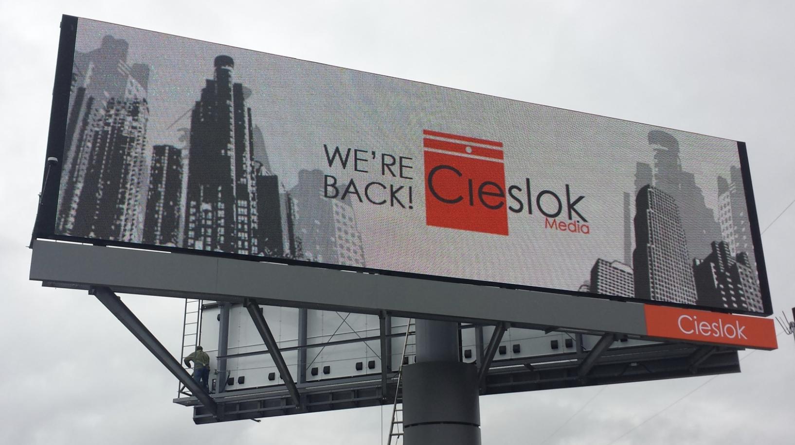 a digital billboard owned by Cieslok Medi