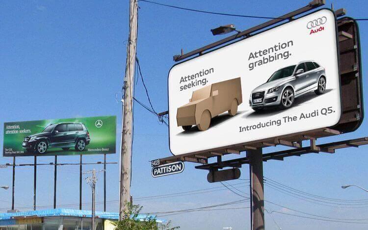 billboard advertisement audi vs mercedes-benz