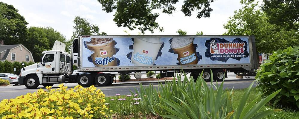What is the circulation of this Dunkin' Donuts truck ad?