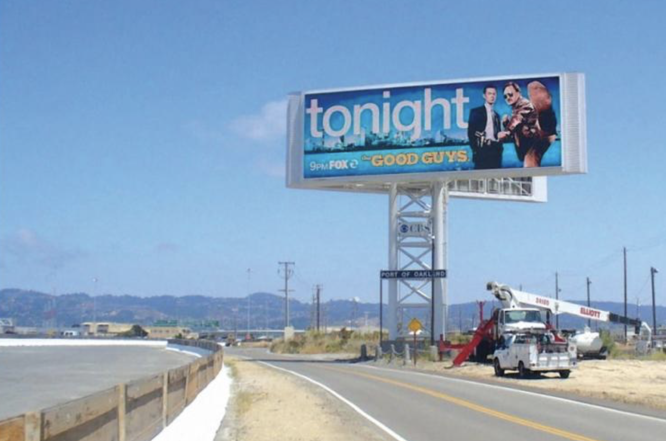 a steel structured billboard advertising owned by FOX