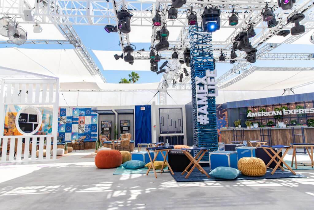 Photo of American Express lounge at Coachella Valley music festival.