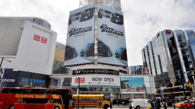 The Fate of the Furious billboard at the Eaton Center.