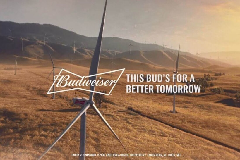 Budweiser's Campaign for renewable electricity from wind power.
